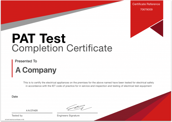 PAT Test Completion Certificate