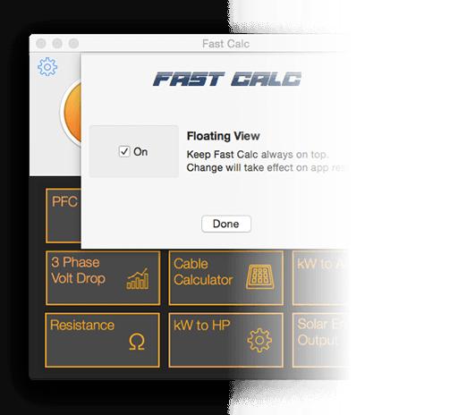 Fast Calc screen on Mac