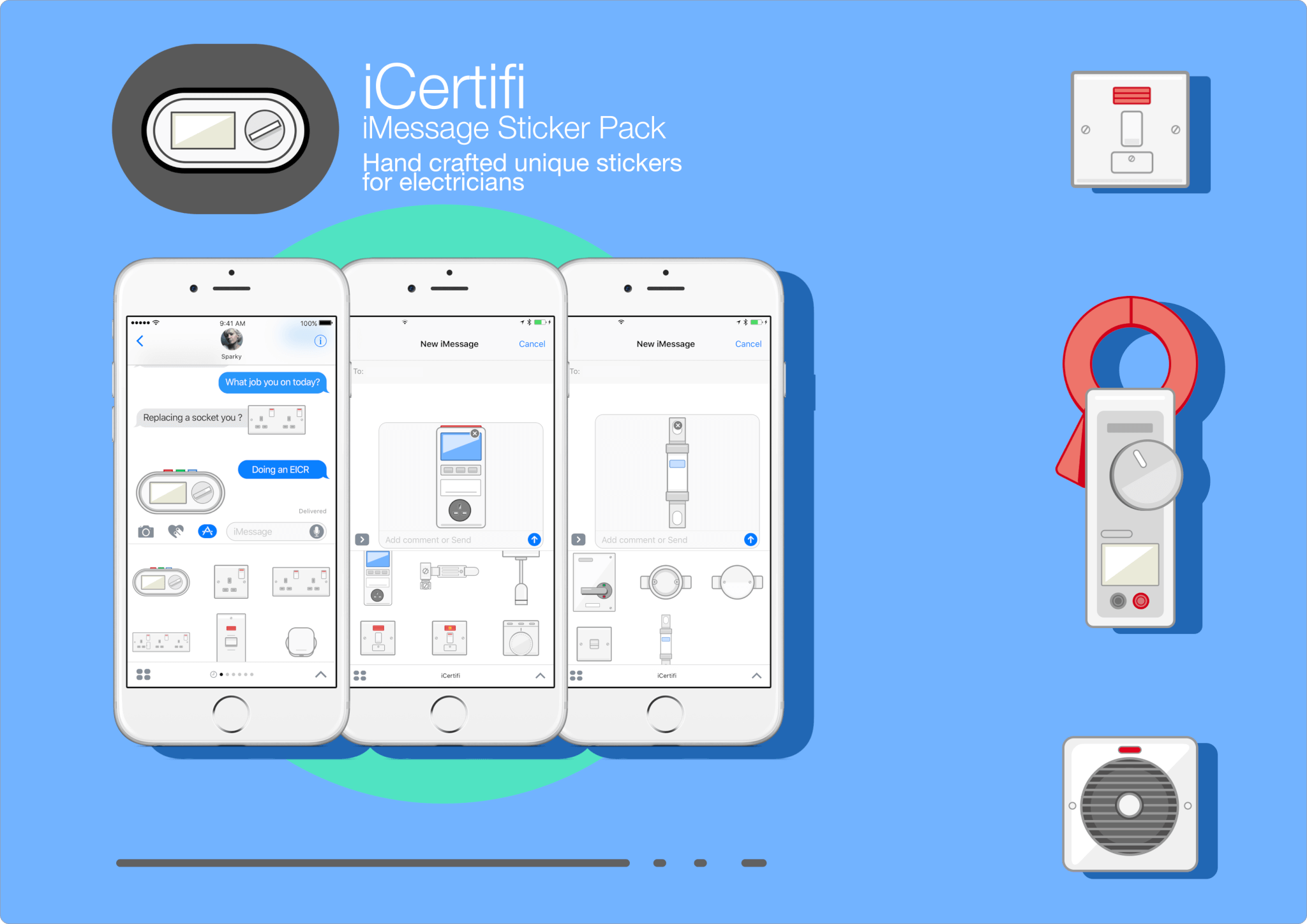 iCertifi electrical stickers for iMessage