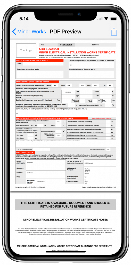Electrical certificate on iPhone X