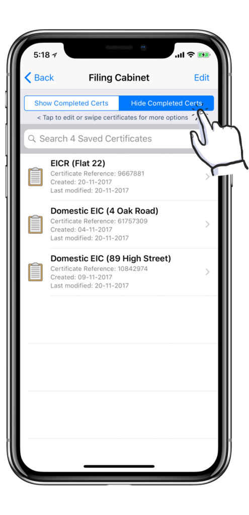Stored Electrical certificates on iPhone X