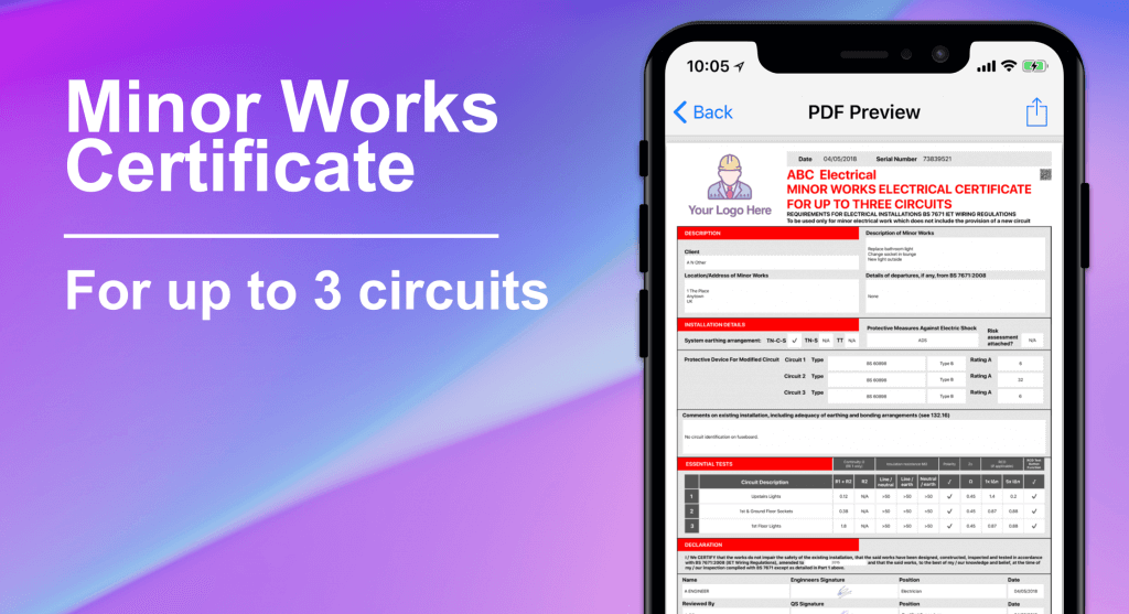 Minor Works Electrical Certificate