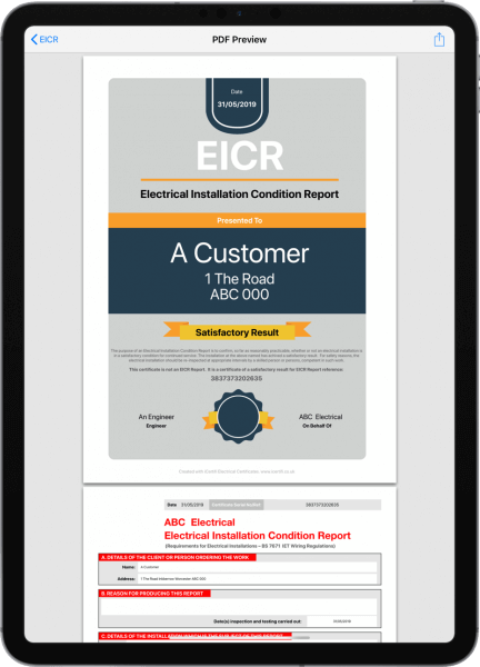 EICR electrical certificate on iPad