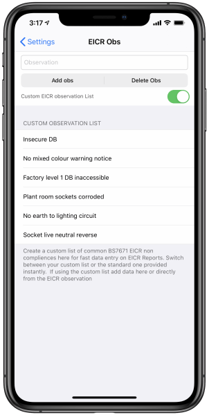 EICR observation list iPhone add observation