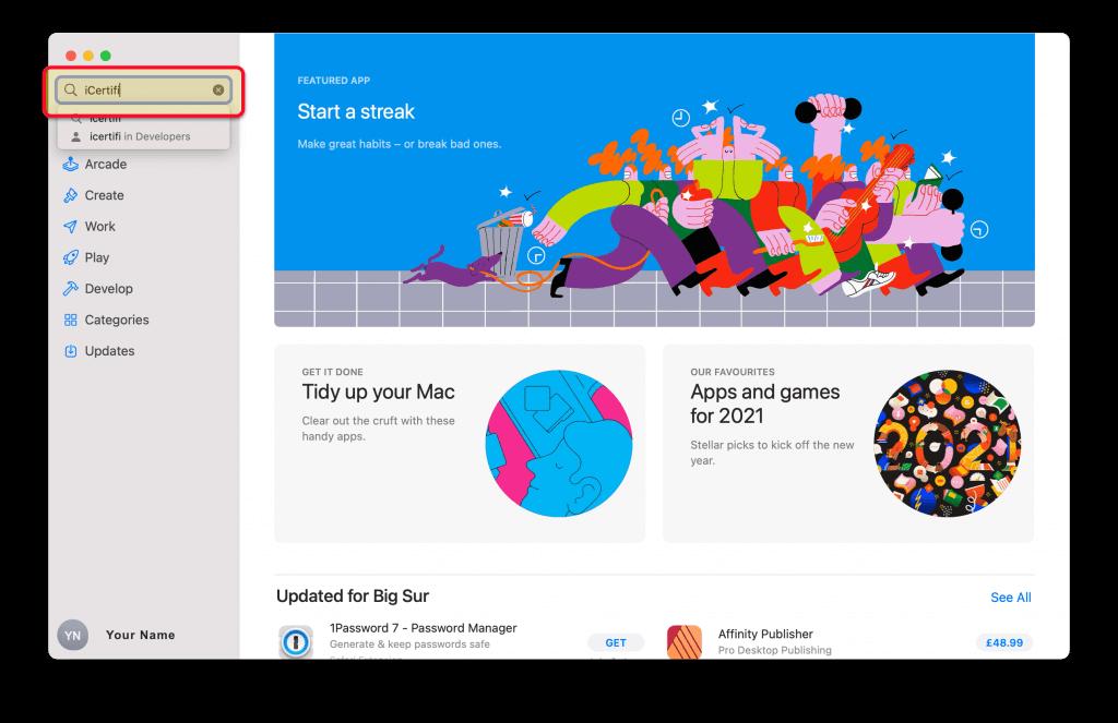 Search iCertifi on Mac Appstore